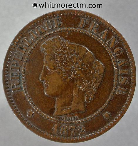 1872 France 5 Centimes 1872K Y22
