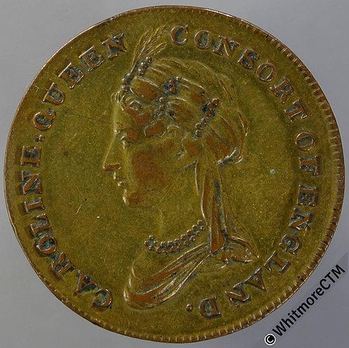 1821 Caroline of Brunswick Queen Consort Coronation Medallion 25mm B399