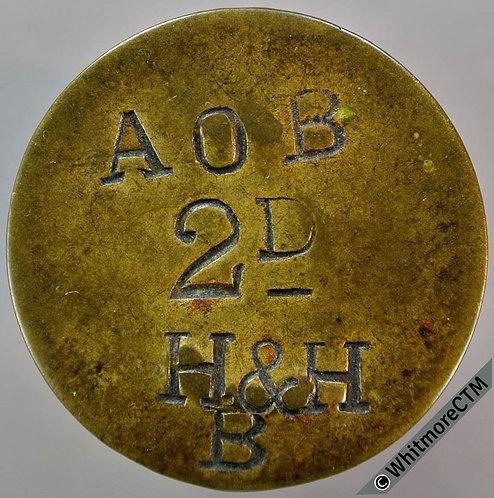 Value Stated Token 27mm A O B 2D H & H  B - All incuse - Uniface. Brass