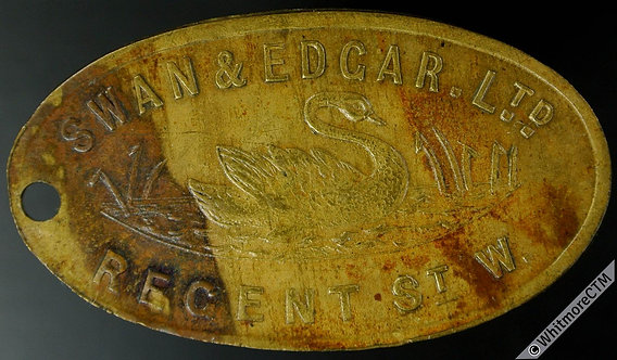 Swan & Edgar Ltd London Key Reward Token 43x24mm Oval brass. Pierced