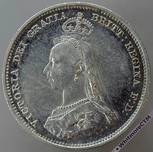 1887 Victoria Jubilee Head Shilling D982 Loop in Q