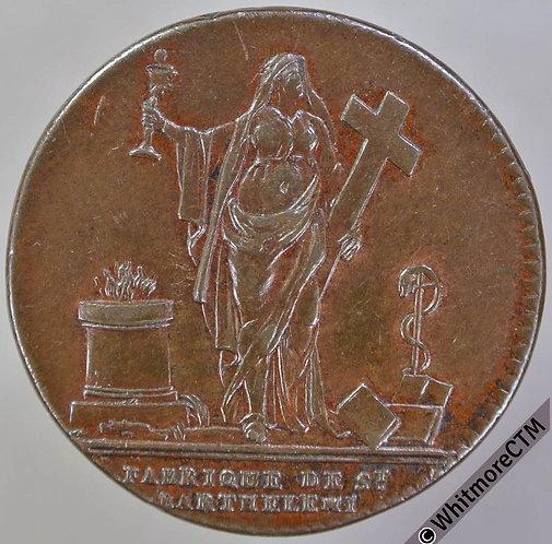 French St. Bartholomew II Livres de Viande token 28mm Bronze