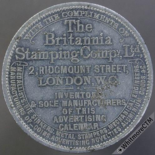 The Britannia Stamping Co Ltd 1904-25 Perpetual Calendar Medal 38mm