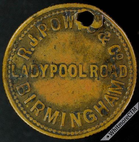 Value Stated Token Birmingham 23mm R.J.Powis & Co. Ladypool Rd. 3D Bronze