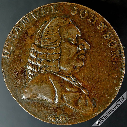 18th Century Halfpenny Birmingham 71A Samuel Johnson / 3 Lions