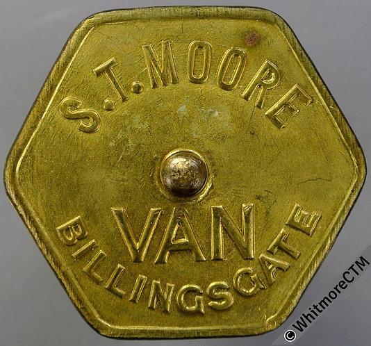 Market Token Billingsgate S.T.Moore - Van 45mm Hexagonal brass with centre boss