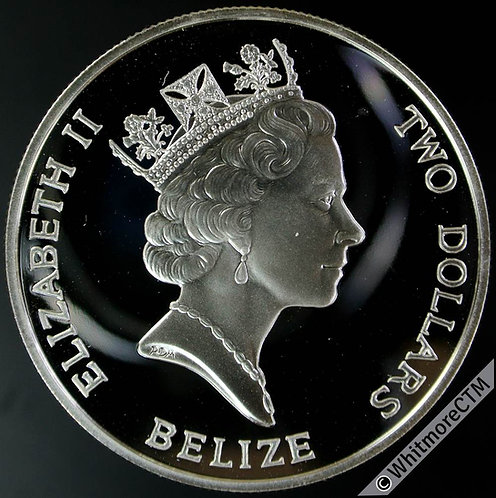 1990 Belize 2 Dollars Queen Mother's 90th Birthday. Silver proof about FDC