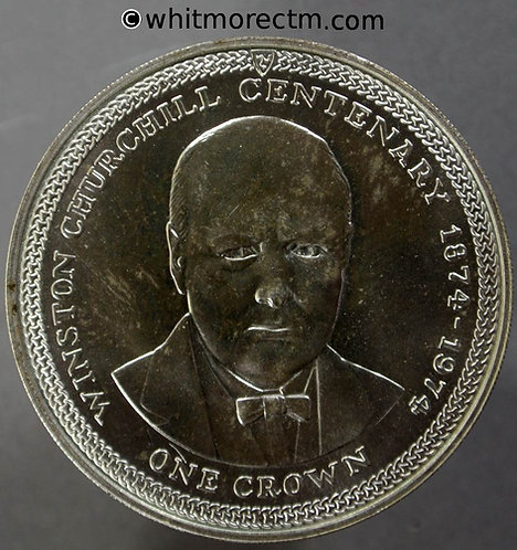 1974 Isle of Man Y13 Winston Churchill - One Crown rev