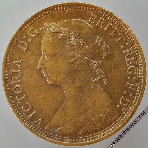 1889 British Bronze Halfpenny - Victoria Bun Head