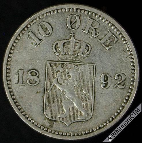1892 Norway 10 Ǿre Y22