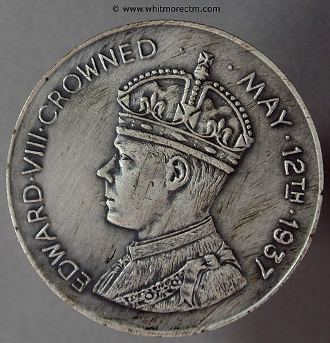 1937 Intended Coronation Medal obv Edward VIII 256b 38mm By Sale. Silvered bronze