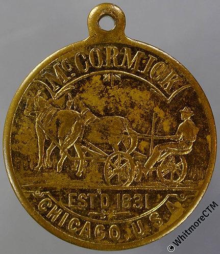 USA Chicago McCormick Established 1831 Medal 27mm Same both sides. Gilt brass