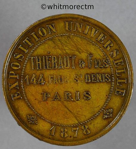 1878 France Exposition Universelle Thiebaut & Fils Medallion 27mm Brass