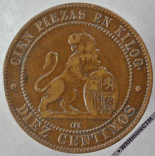 1870 Spain 10 Centimos obv