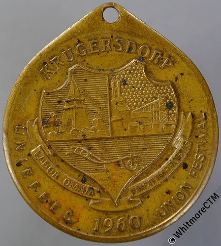 1960 South Africa Krugersdorp Anniversary of Union Festival Medal 33mm Bronze