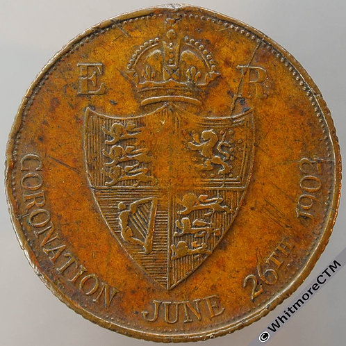 1902 Edward VII Coronation Medal 24mm WE4782C Brass, without suspender