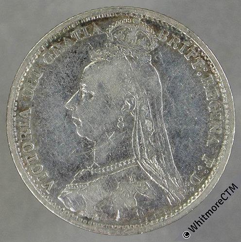 1889 Victoria Jubilee Head Sixpence