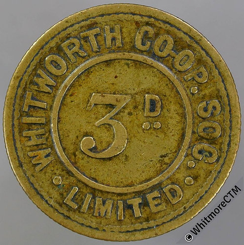 Co-Operative Society token Whitworth Lancashire 25mm 3D Same both sides. Brass