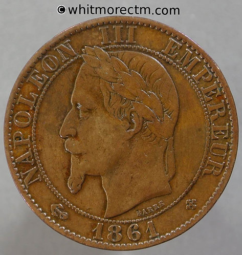 1861 France 5 Centimes coin 1861BB Y20