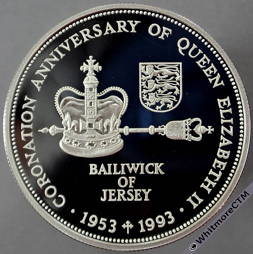 1993 Jersey 40th Anniversary of Coronation Crown rev 2 Pound. Silver proof about FDC