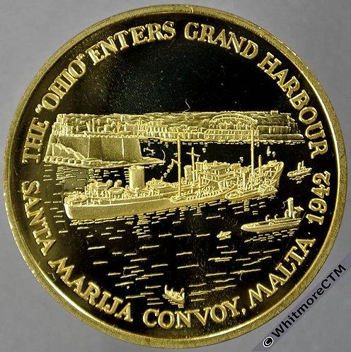 Malta Commemorative Medal 39mm Ohio Entering Grand Harbour - George Cross