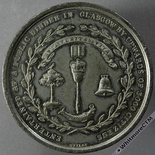 Glasgow 1837 Robert Peel installed Lord Rector of University Medal 46mm B1749