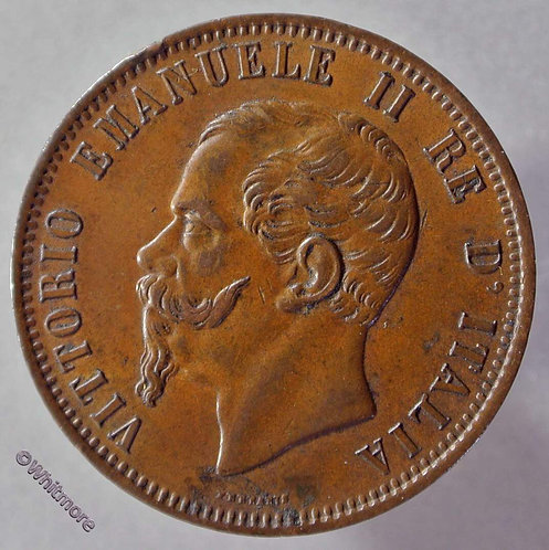 1866 Italy Y9 10 Centesimi coin obv 1866M