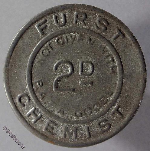 Bonus Token - (London) 30mm Furst Chemist 2d Bracteate tinned iron - obv