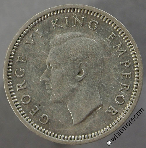 1939 New Zealand 3 Pence - George VI obv