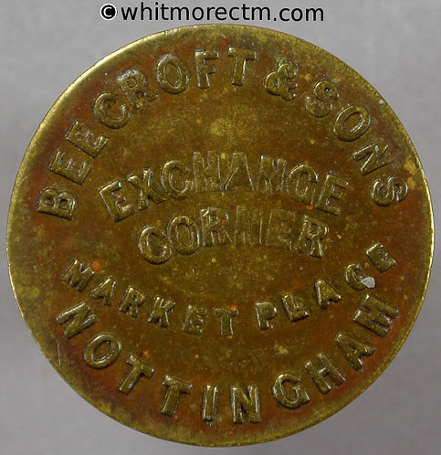 Unofficial Farthing Nottingham 4060 1862 Beecroft & sons - Victoria Young Head