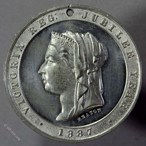 1887 Queen Victoria Golden Jubilee Medal 32mm B3248 By Heaton. White metal