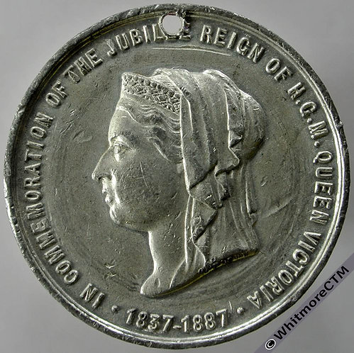 1887 Queen Victoria Jubilee Medal 38mm BHM3265 By J.Moore. - White Metal