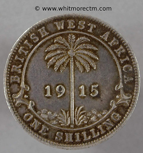 1915 British West Africa Shilling Y16 1915H Silver - Rare