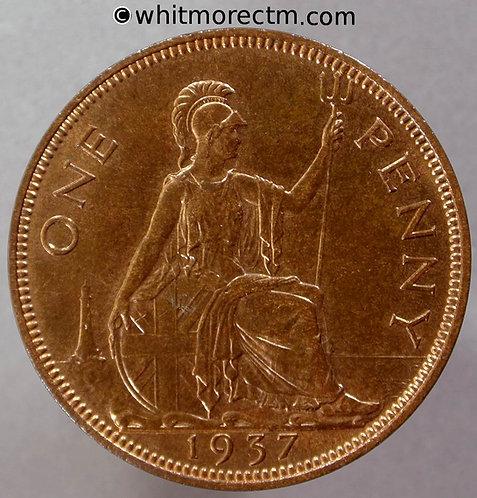1937 British Bronze Penny George VI F217 1+A 70% Luster
