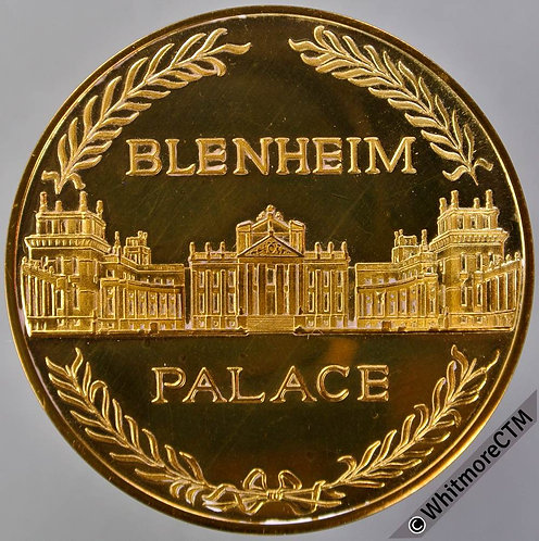 Blenheim View of Palace Medal 38mm Ducal Arms. in Gilt Bronze
