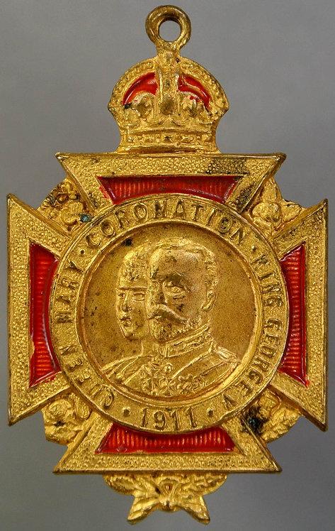 1911 Denton Coronation of George V Medal 25x36mm WE5321B Gilt cruciform brass