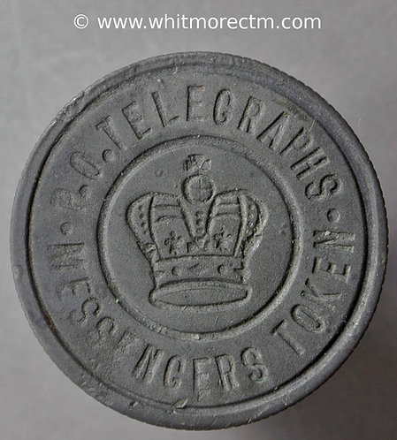 Transport Token P.O.Telegraphs - Messengers Token - Crown - All incuse 27mm