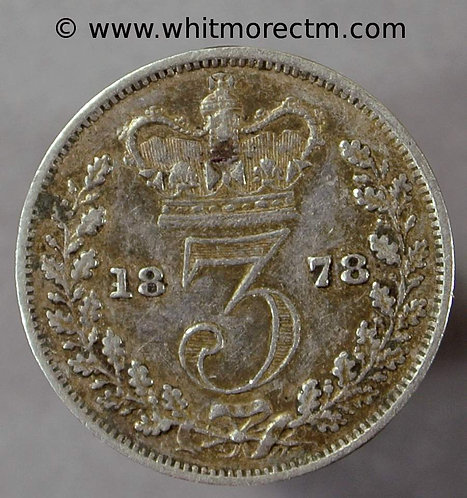 1878 Victoria young Head threepence