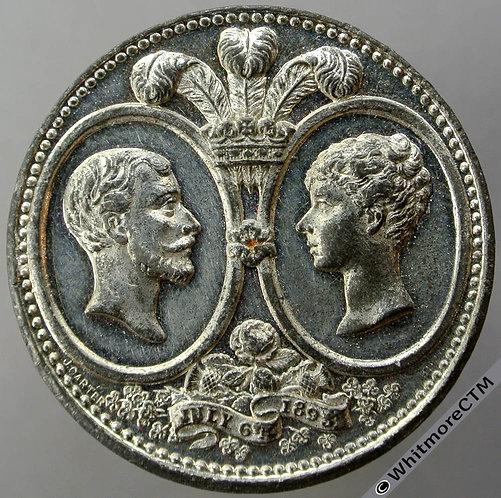 1893 Marriage of Duke of York George V Medal 39mm WE1692C Stamp Merchant, Rare