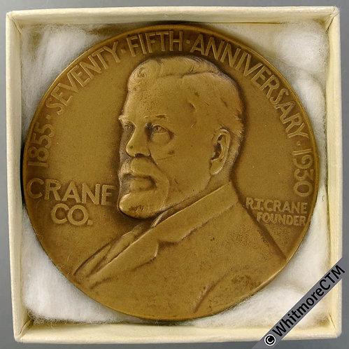 1930 USA Chicago Crane Co 75th Anniversary Medal 63mm Rare. Bronze. Boxed