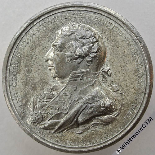 1809 Jubilee of George III Medallion 52mm BHM652 By P.Wyon White Metal