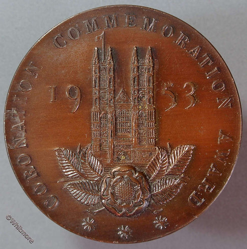 1953 Coronation. Westminster Abbey Amateur Gardening Medal obv 50mm WE8230 Bronze
