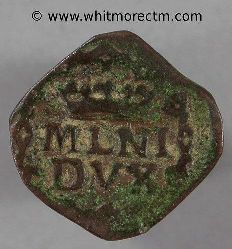 1736 Italy Milan Quattrino coin Charles III Square copper