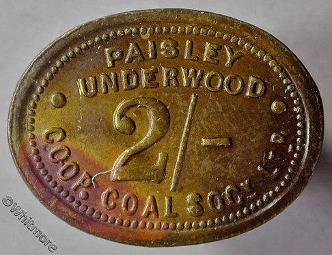 Co-Operative Society token Paisley Underwood - 26x20mm 2/- Oval brass