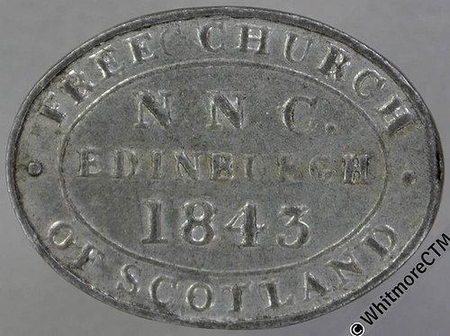 Communion Token Edinburgh C2071 29x22mm 1843 Free Church of Scotland - Oval