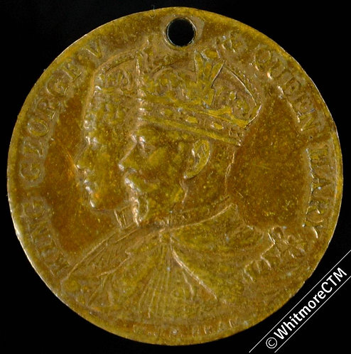 1911 George V Coronation Medal 19mm Bronze Pierced not in Whittlestone
