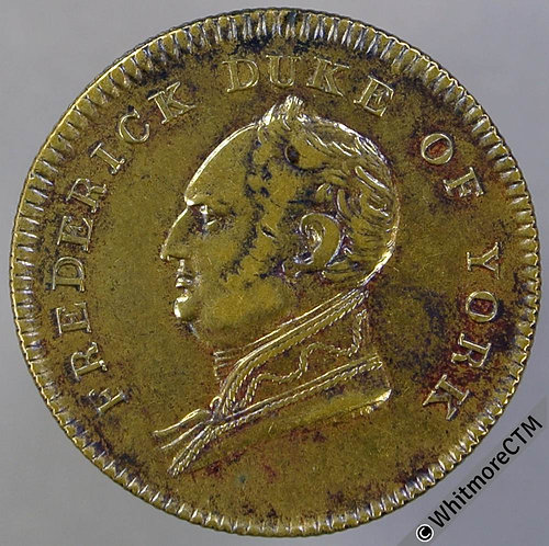 1827 Royal Commemorative Death of Duke of York Medal 25mm B1291 Brass