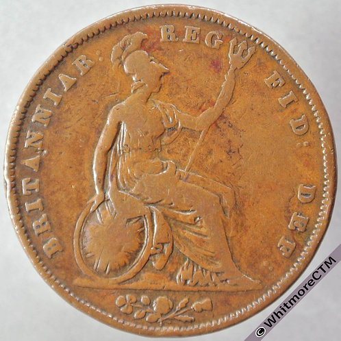 1841 British Copper Penny Victoria Young Head - No colon after REG