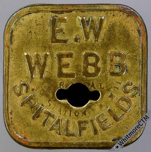 Market Token Spitalfields 26mm 2s E.W.Webb - Square brass. Shaped piercing