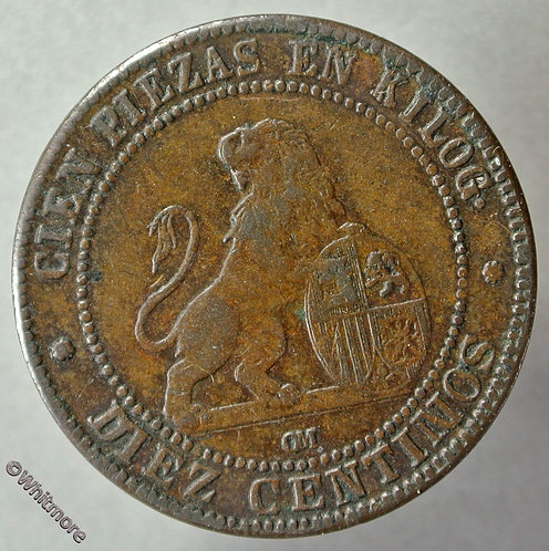 1870 Spain 10 Centimos coin